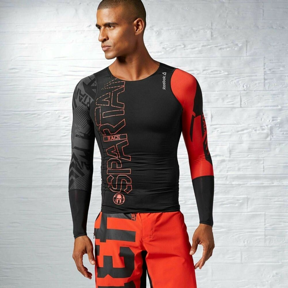 Details about New Men s REEBOK Crossfit Spartan Compression Running Tee  B83856 Black MSRP  75 c4f7dcffd