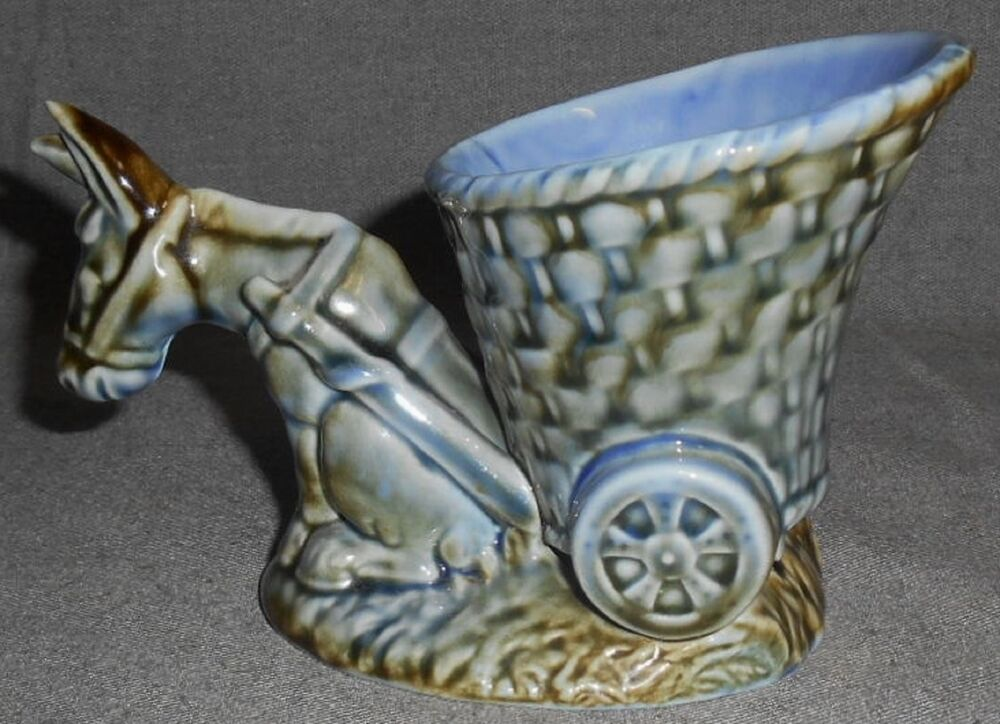 Wade Pottery Porcelain: Wade Porcelain SHAMROCK PATTERN Donkey W/Cart Planter MADE