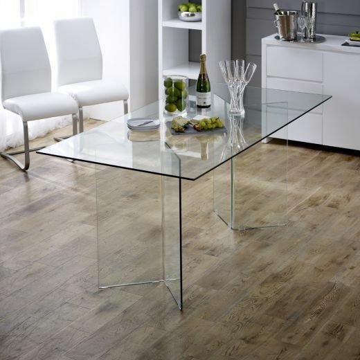 Geo Glass Clear 6 Seater Rectangle Dining Table Modern Home Furniture GG73