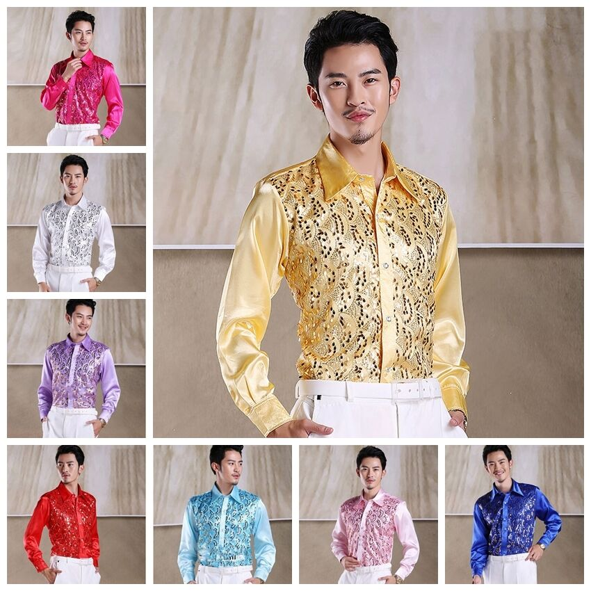 Long sleeve mens patterned shirts casual or formal silk for Patterned dress shirts for men
