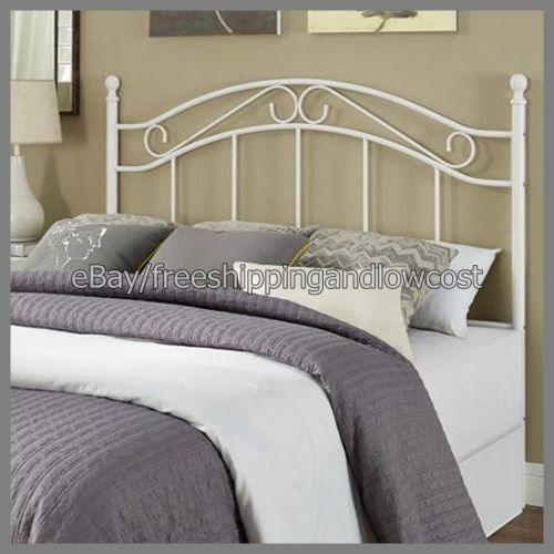 Headboard Bed Bedroom Frame Furniture Traditional Metal White Full Queen Size Ebay