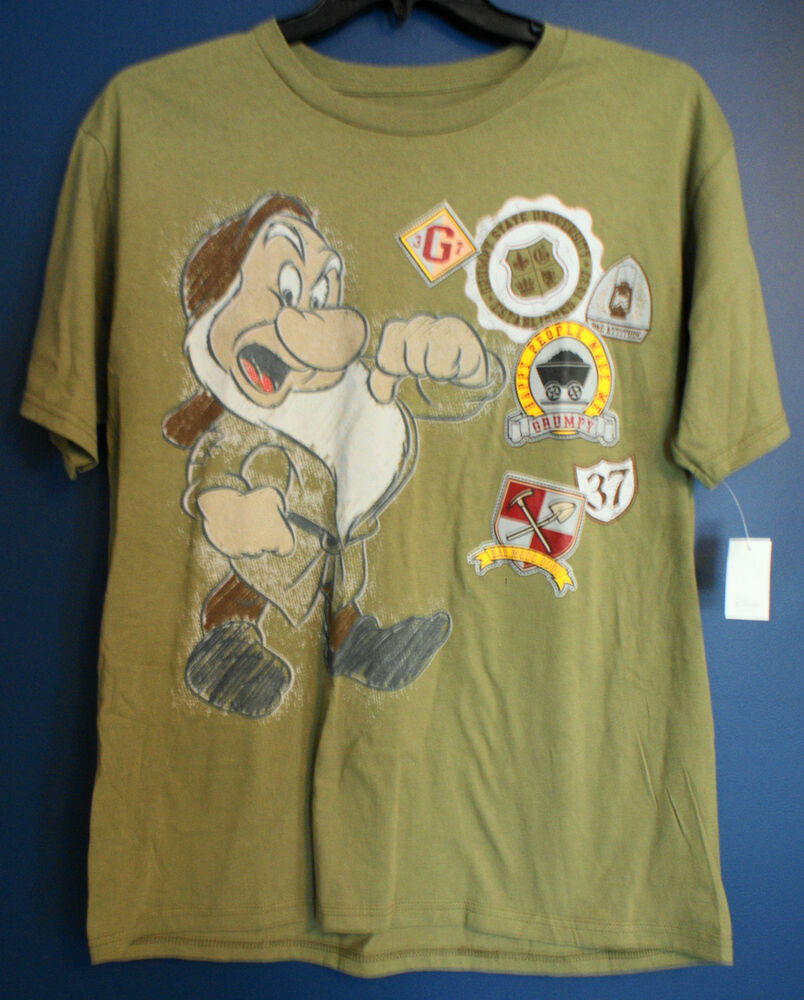 New disney store grumpy snow white t shirt mens large l ebay for Oversized disney t shirts
