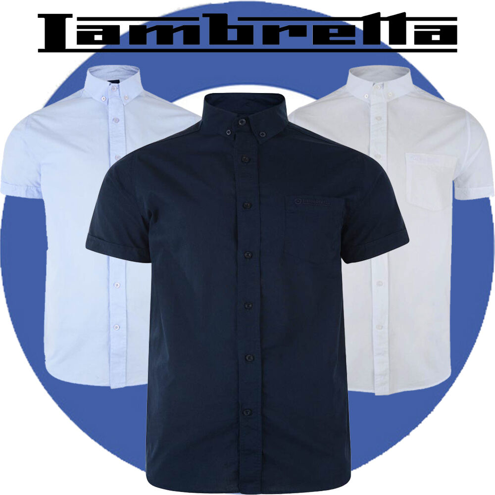 Lambretta mens classic chambray short sleeved shirts 3 for 3 button shirt collar