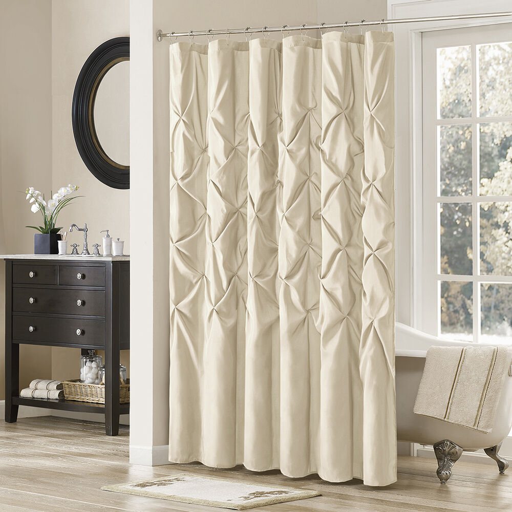 Details About Deluxe Polyester Polyoni Ivory Navy White Taupe Tufting Shower Curtain 72 X