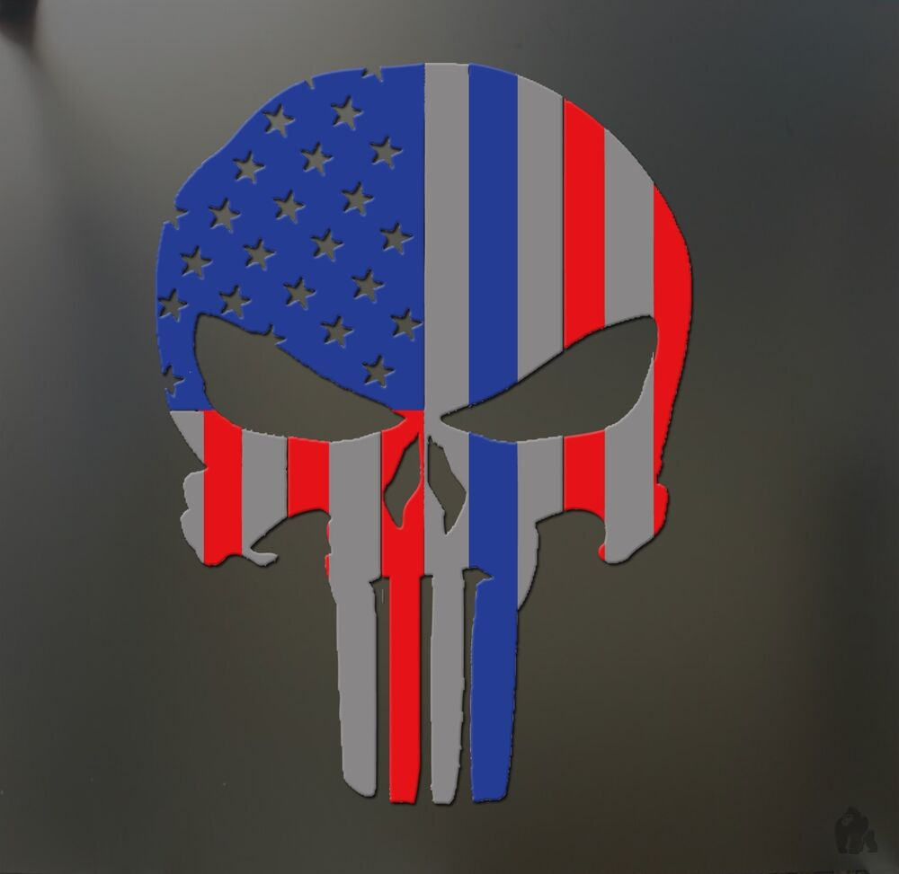 American Flag Punisher Skull Sticker Funny Jdm Sniper Race
