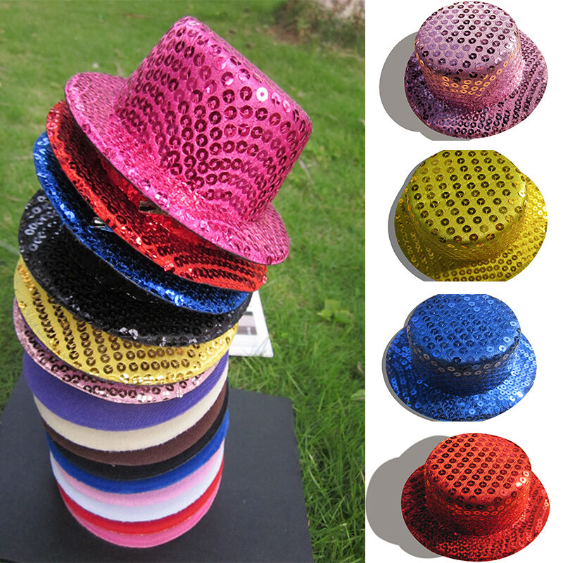 Diy making sequin mini ladies top hats craft fascinator for Small alligator clips for crafts