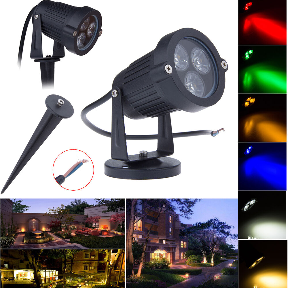 9w 3 led outdoor landscape garden lawn tree flood spot light backyard path lamp ebay. Black Bedroom Furniture Sets. Home Design Ideas