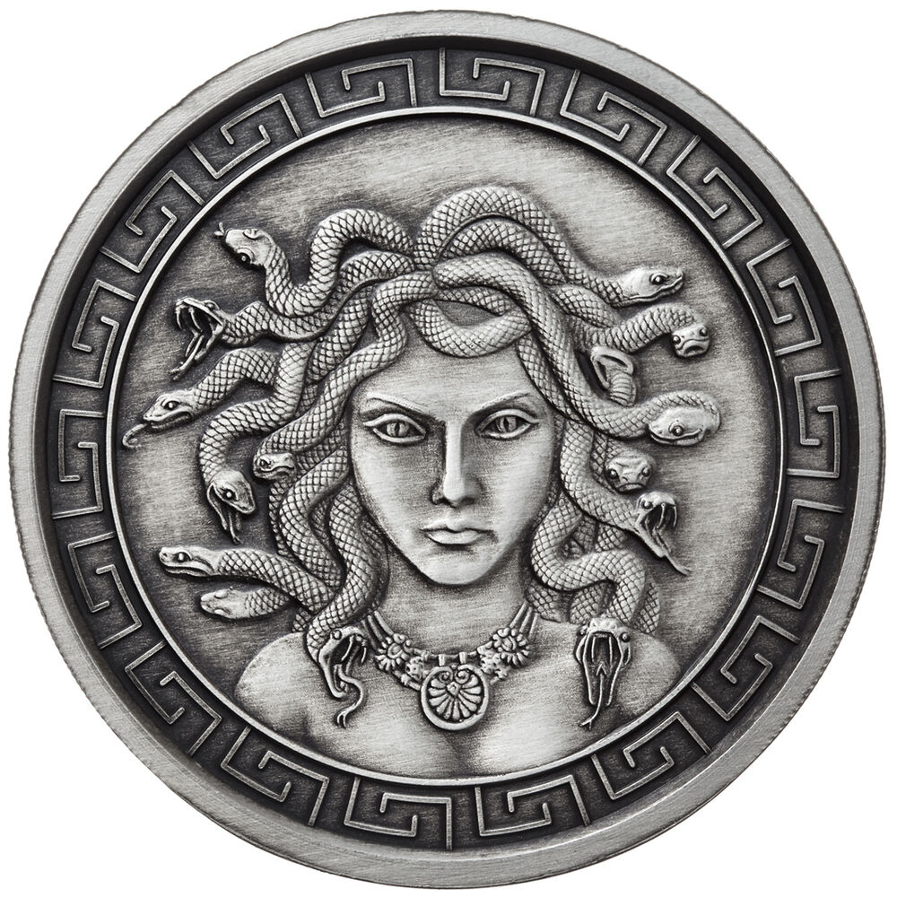 1 Oz Silver Coin Antique Medusa Greek Mythology Girl Rim
