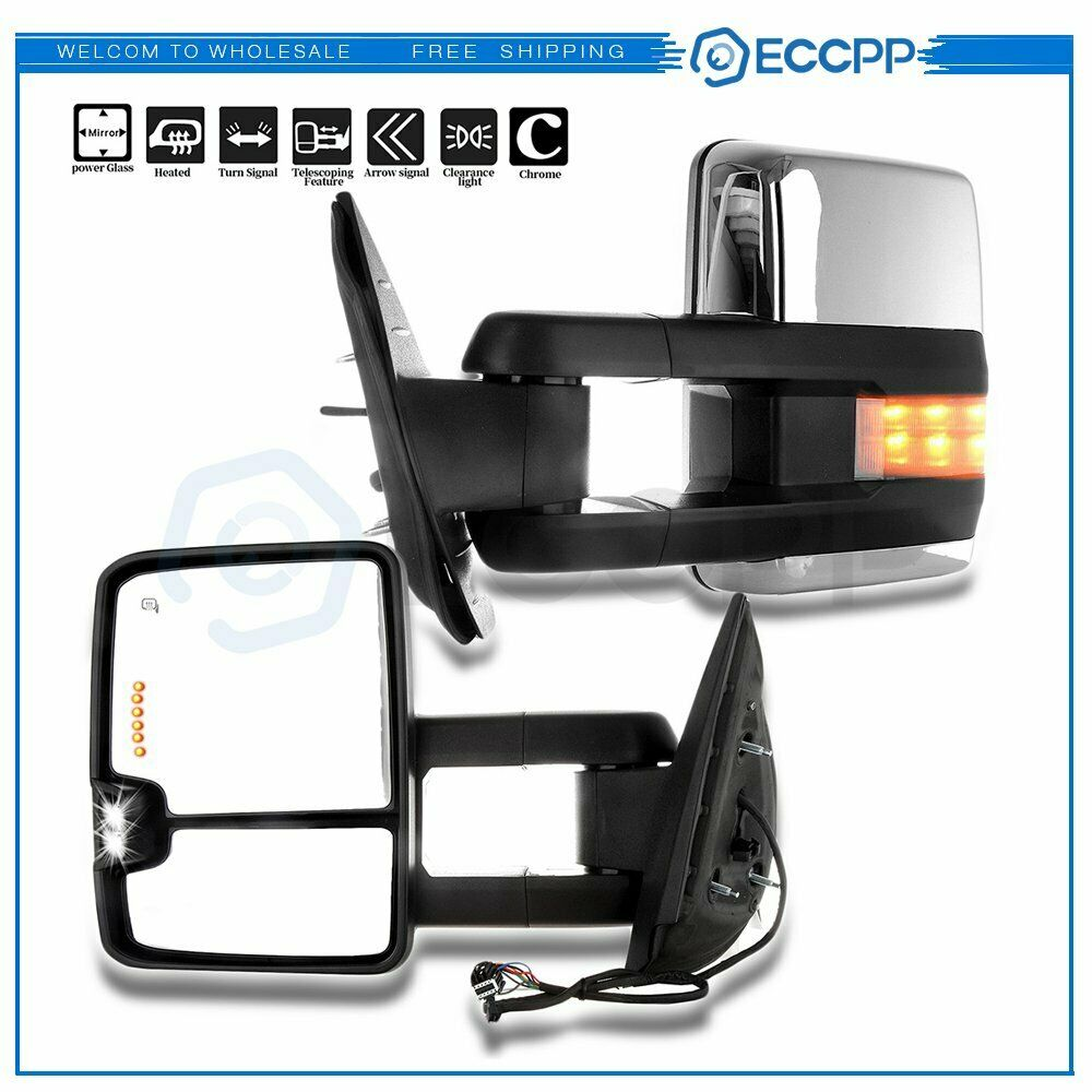 Chrome Side Mirrors For 07 14 Sierra Towing Power Heated