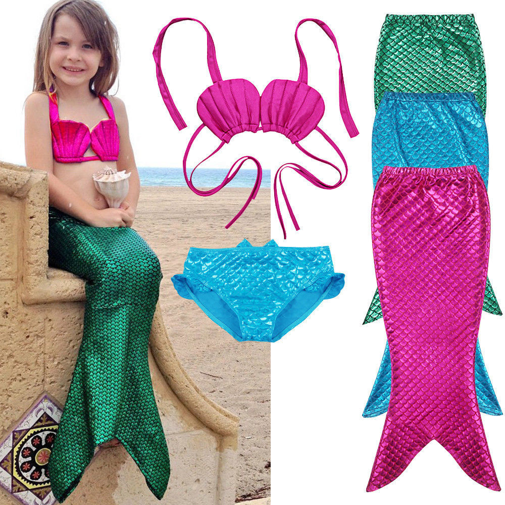 a97b6270b0 Details about Kids Fairy Mermaid Tail Swimmable Bikini Top Bathing Suit  Fancy Costume (3pcs)