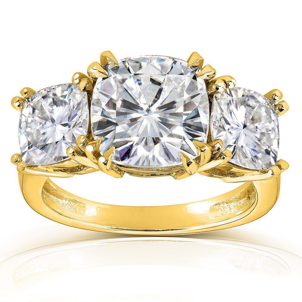 5ct Cushion Cut Moissanite Three Stone Engagement Ring In
