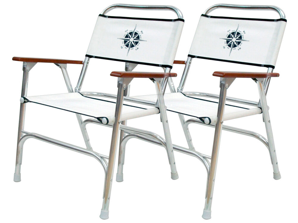 MARINE FOLDING DECK CHAIR FOR BOAT SET OF 2 CHAIRS