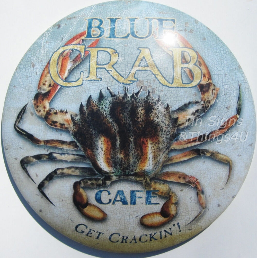 Blue Crab Cafe Round Dome Tin Sign Vtg Seafood Nautical