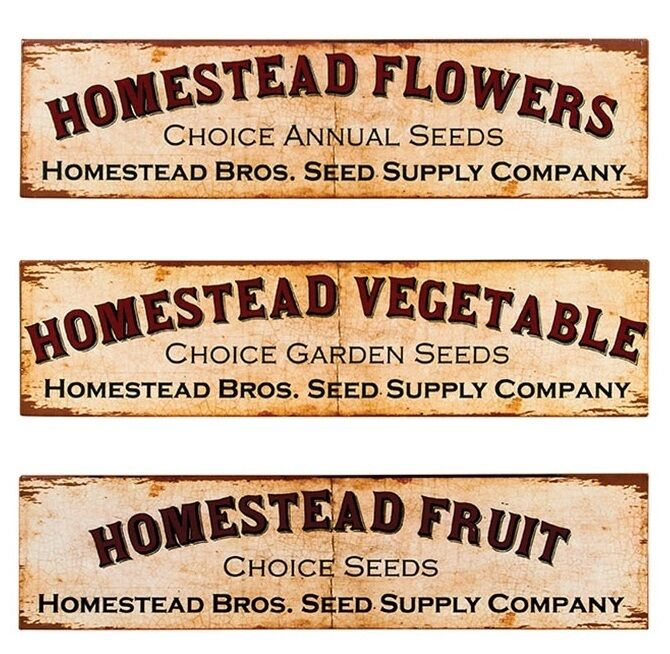 Homestead Garden Seed Co Tin Sign Set Of 3 Metal Vintage Rustic Home Wall Decor Ebay