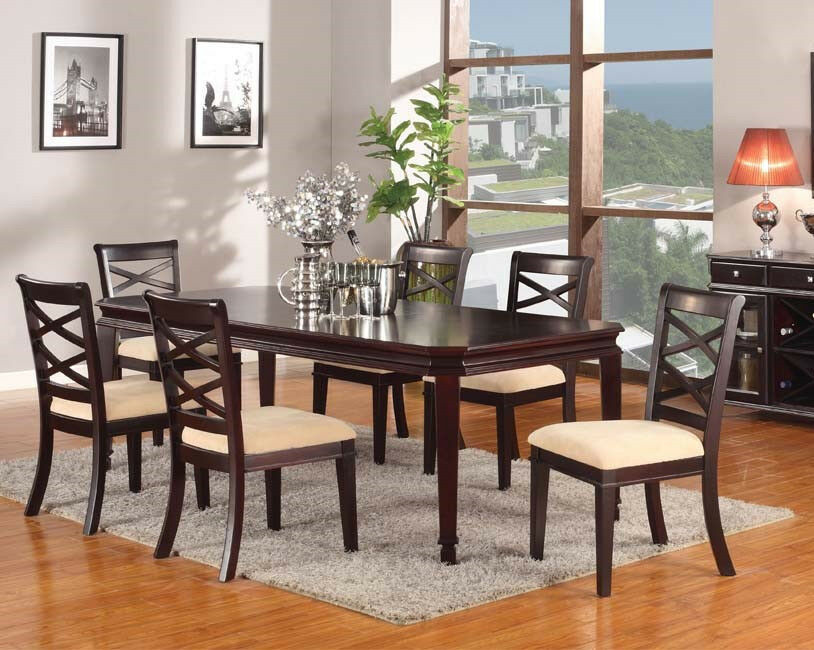 Traditional 7Pcs Dining Table Set Dining Room Furniture Set Table And Chairs