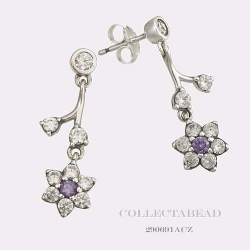 Pandora Silver Stud Earrings: Authentic Pandora Silver Forget Me Not Purple CZ Stud