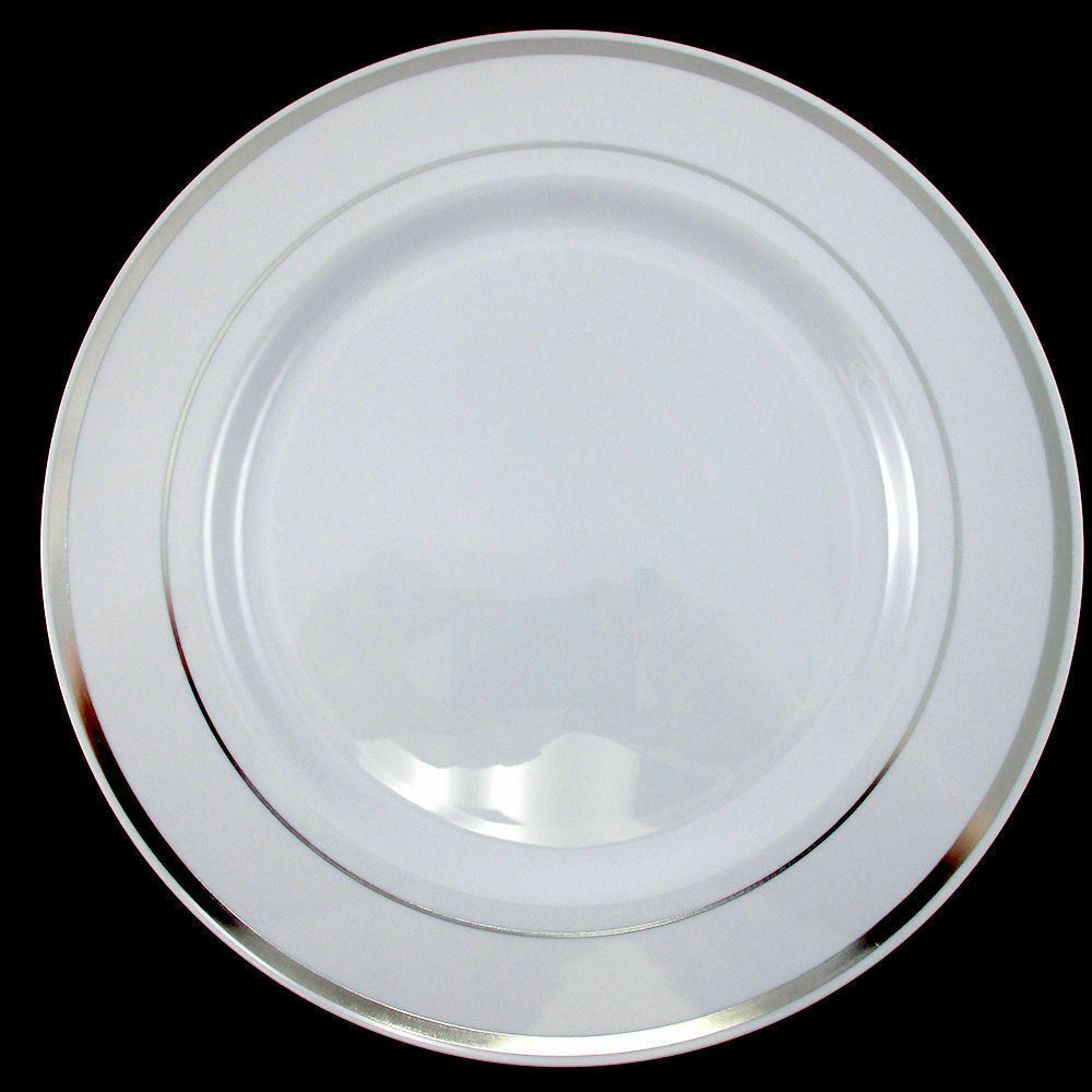 Dinner Wedding Party Disposable Plastic Plates White Silver Rim EBay