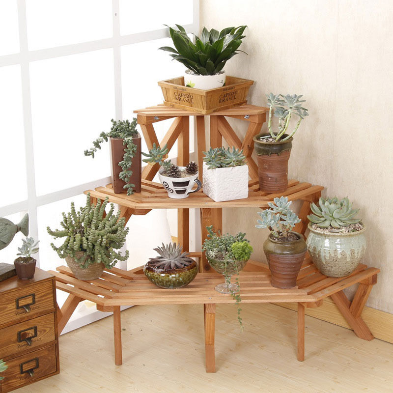 Hans Amp Alice Quarter Round Wood Plant Rack Flower Shelf