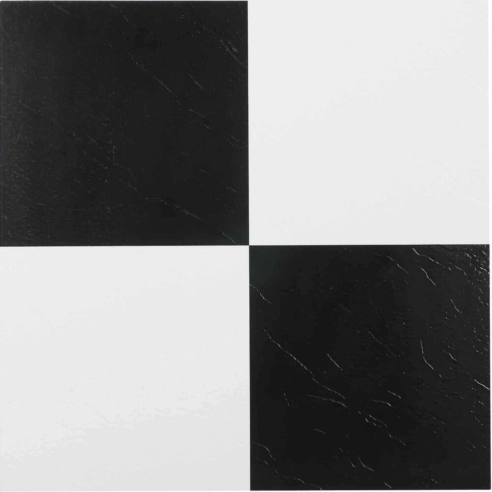 Vinyl floor tile self adhesive peel and stick black and for Stick on vinyl flooring