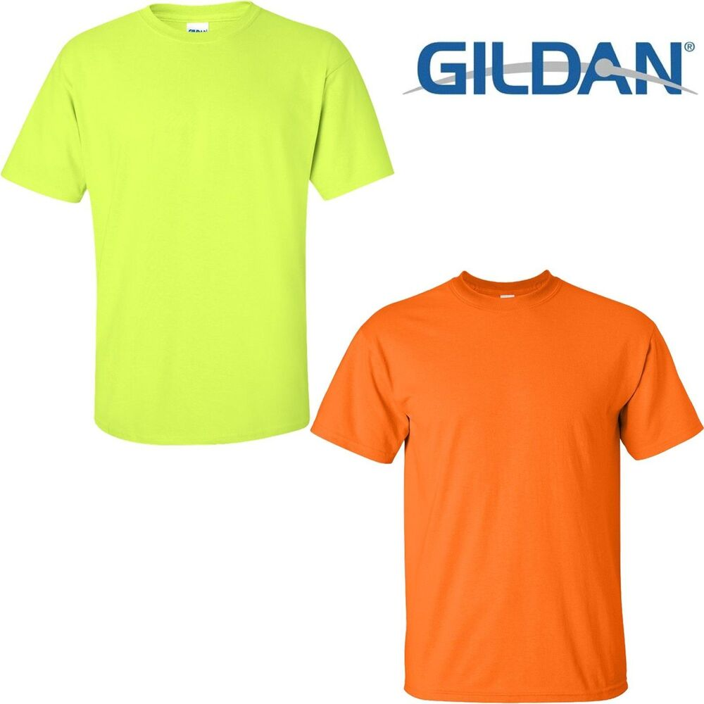 Gildan ultra cotton safety green safety orange ansi high for High visibility safety t shirts