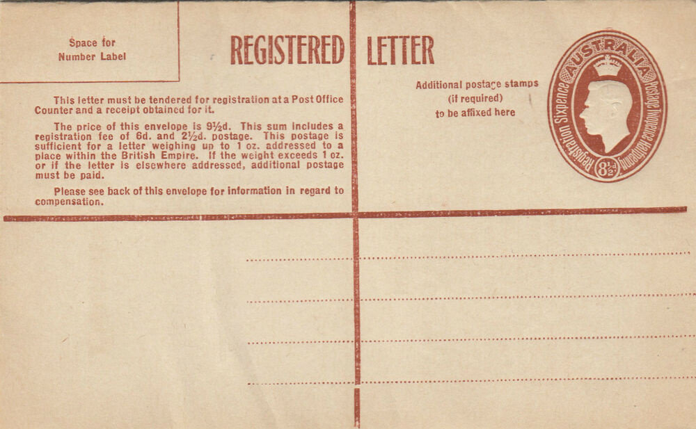 registered letter stamp australia 8 1 2d brown kgv1 registered letter re34 24259 | s l1000