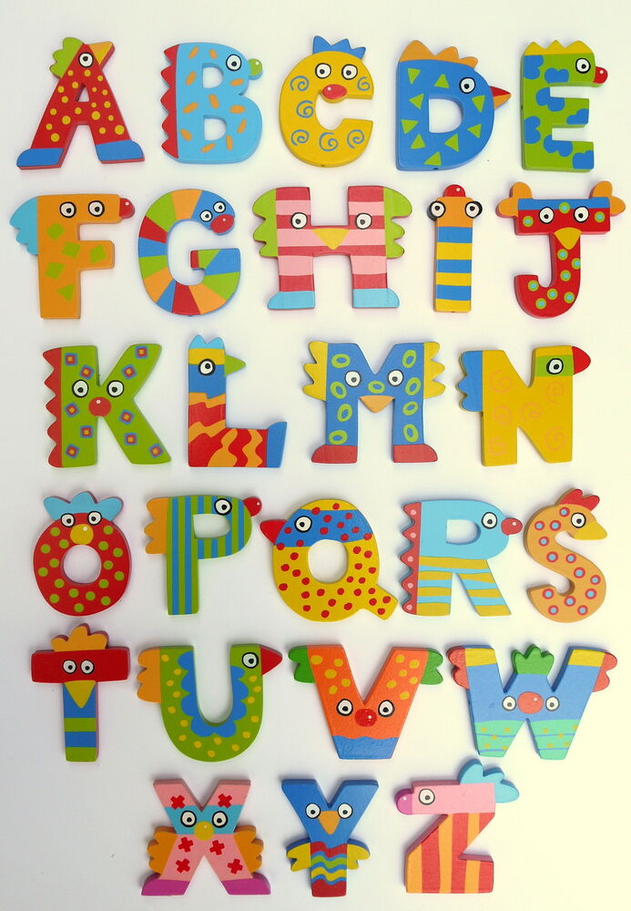 New crazy bird wooden alphabet letters by tatiri bigjigs for Abc wooden wall letters