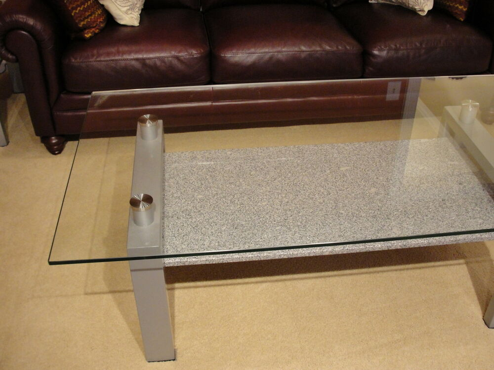 Amalfi Contemporary Glass Granite Metal Coffee And End Table Set Ebay