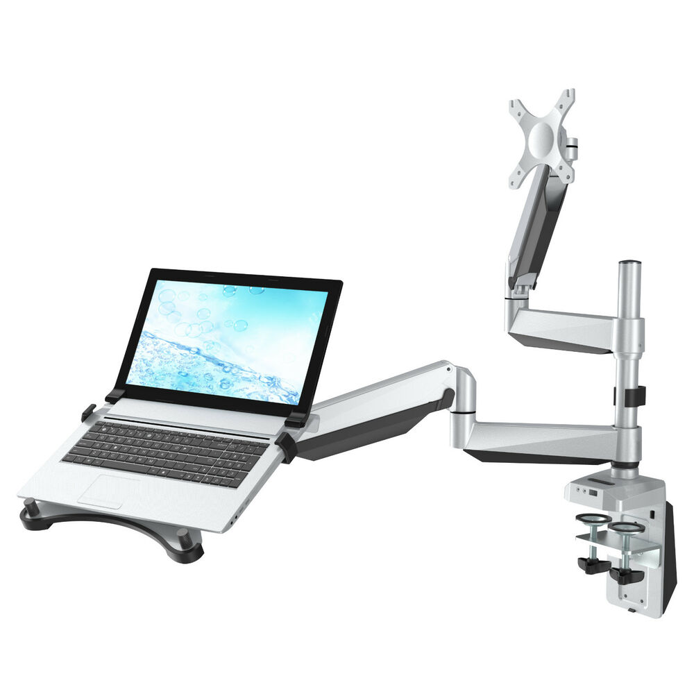 Dual Arm Desk Laptop Mount Monitor Stand For 10 Quot 27 Quot Lcd