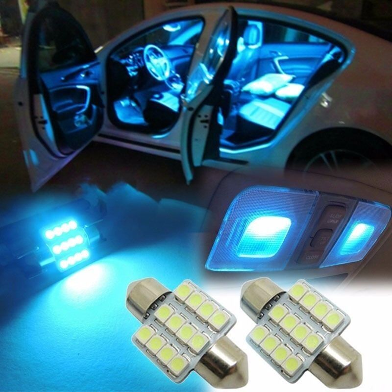 2pcs ice blue 31mm 12smd led de3175 bulbs for car interior dome map door lights ebay. Black Bedroom Furniture Sets. Home Design Ideas