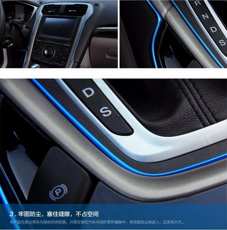 5m auto accessories car universal interior decorative blue strip chrome shiny ebay. Black Bedroom Furniture Sets. Home Design Ideas