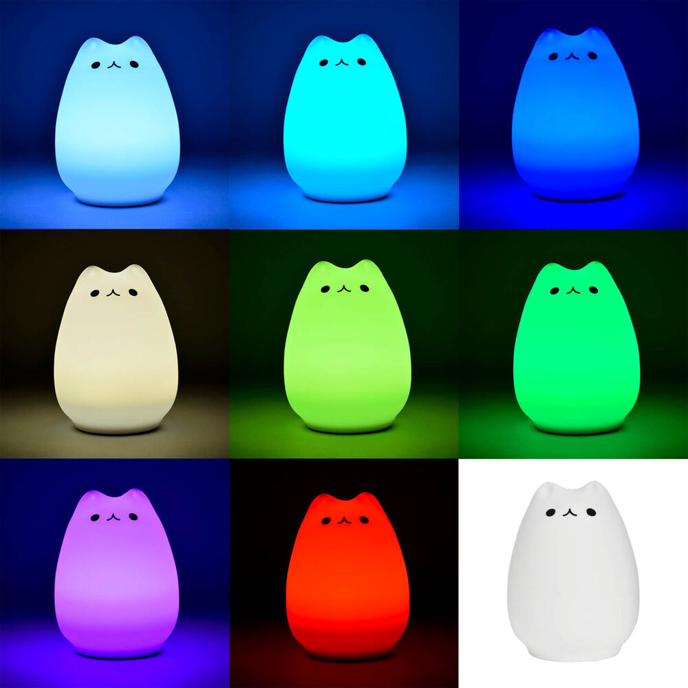 Color Changing Baby Kids LED Night Light Cat Cartoon Table Desk Safety Lamp Toy : eBay