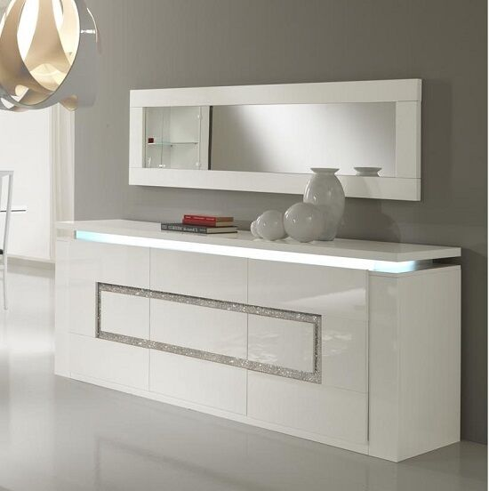 White Gloss Led Furniture: Garde Sideboard In White Gloss With Lights And Diamante
