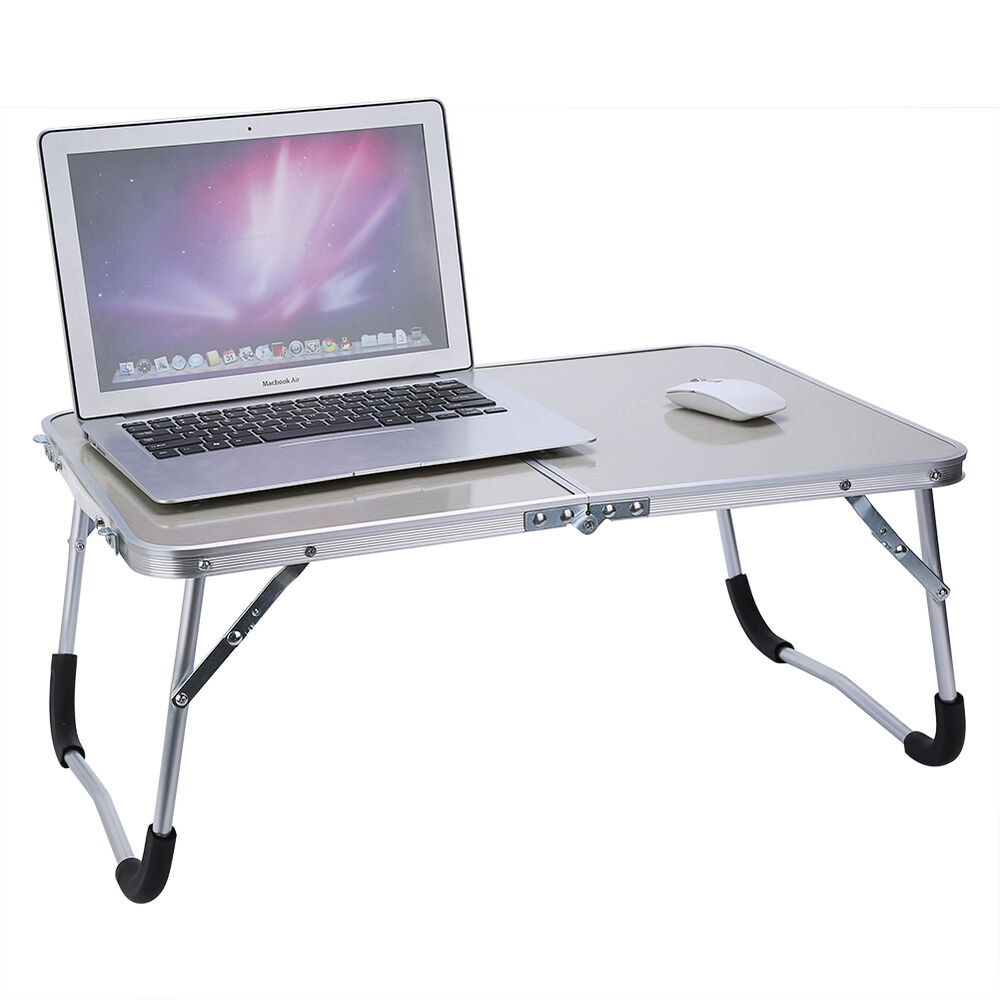 Foldable Laptop Table Tray Desk Stand Bed Sofa W Mdf Table Top Aluminum Frame Ebay