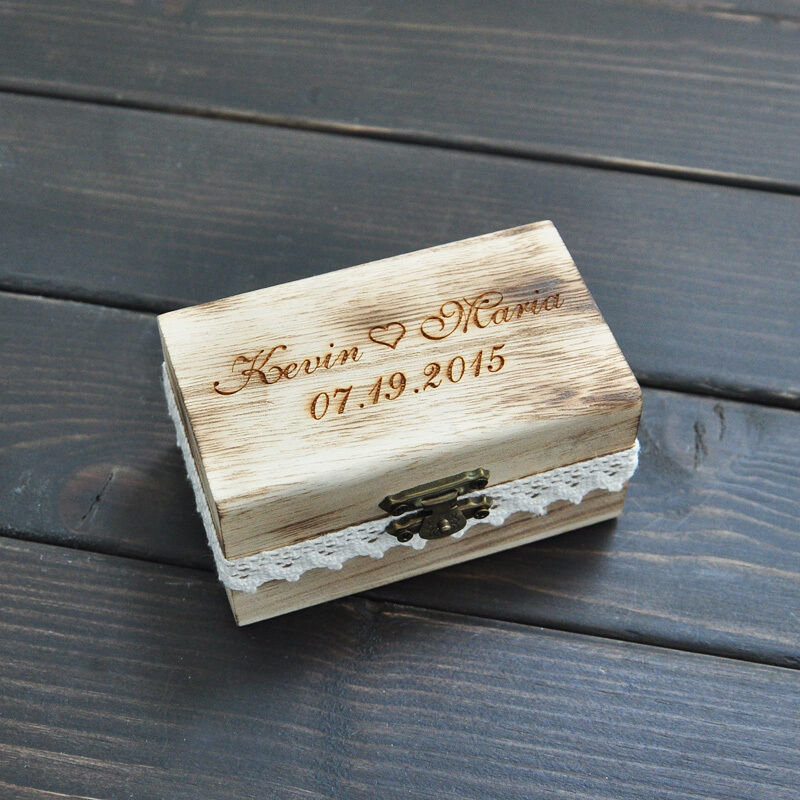 Personalized Gift Rustic Wedding Ring Box Custom Engrave