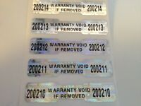 100 WARRANTY VOID DOGBONE HOLOGRAM SECURITY LABELS STICKERS W/SEQUENTIAL NUMBERS
