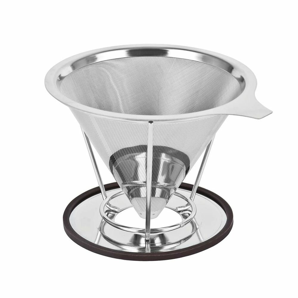 cup coffee maker dripper filter stainless steel reusable drip cone microfilter ebay. Black Bedroom Furniture Sets. Home Design Ideas