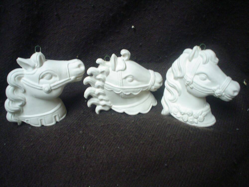 D293 ceramic bisque ornaments 3 carousel horse heads for Plaster crafts to paint