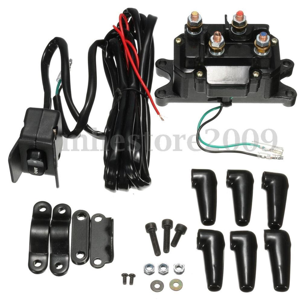12v atv utv solenoid relay contactor winch rocker thumb switch wiring combo ebay. Black Bedroom Furniture Sets. Home Design Ideas