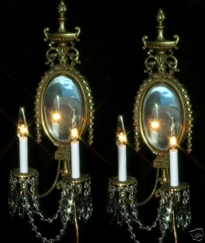 2 Vintage Bronze Brass French Mirror Crystal Wall Sconces