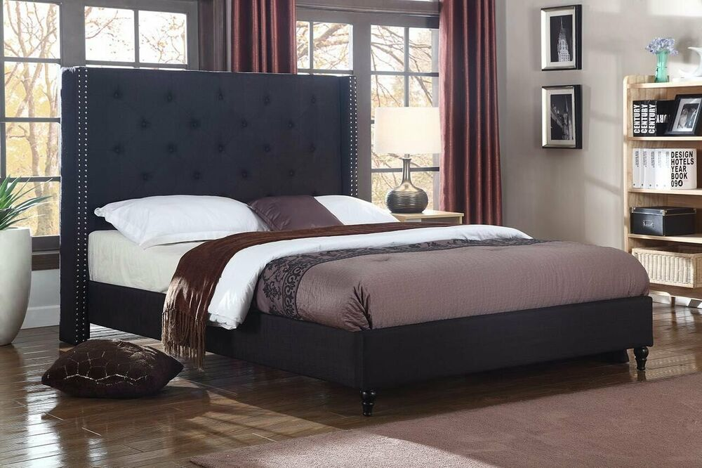 BLACK Fabric WingBack QUEEN Size Platform Bed Frame & Slats Modern Home Bedroom