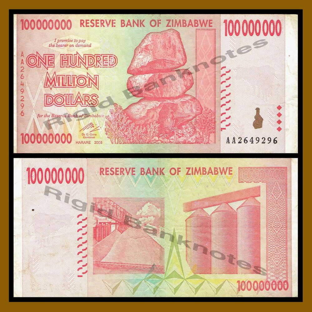 27 Best Images About If I Had A Million Dollars On: Zimbabwe 100 Million Dollars, 2008 AA Circulated, 50 100