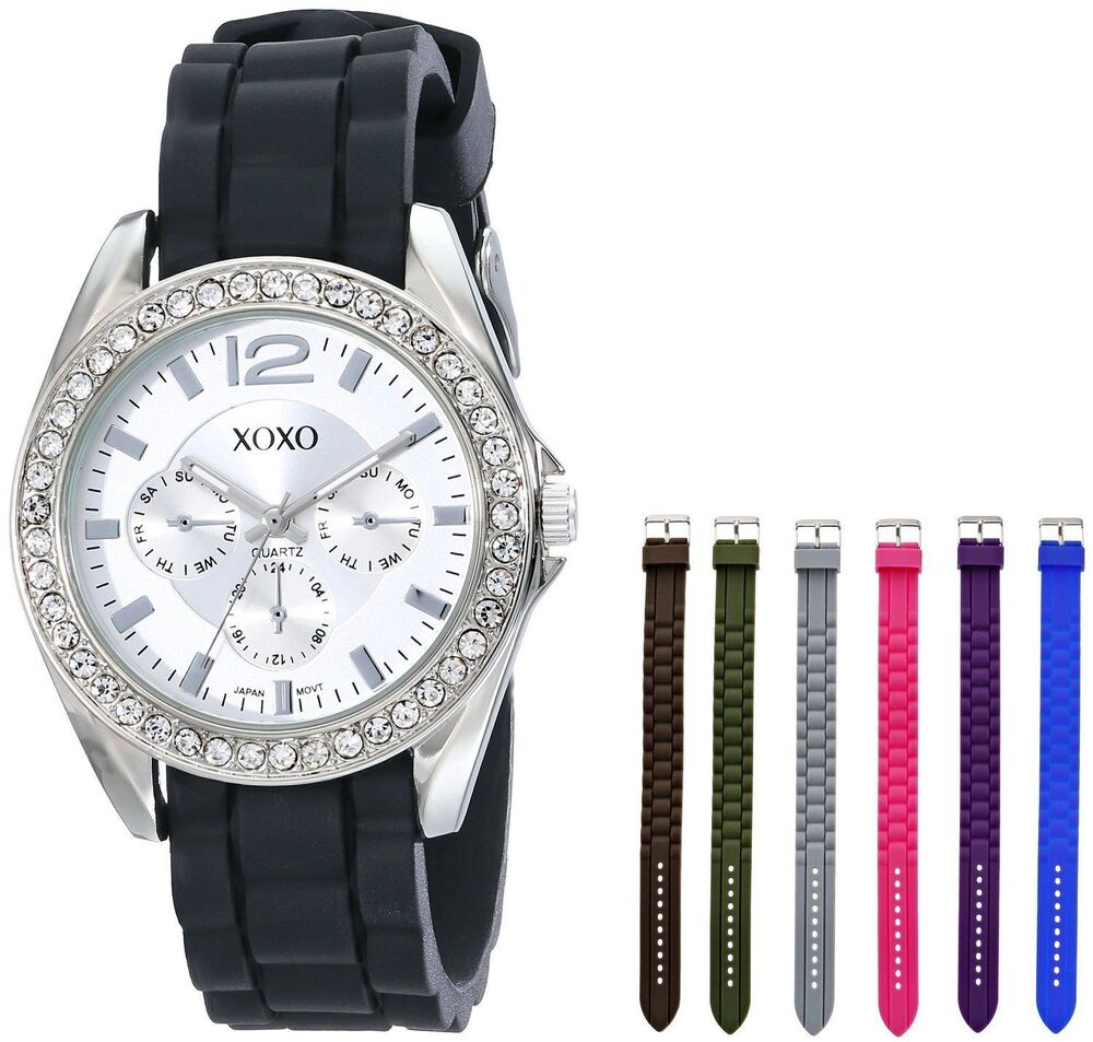 Xoxo women 39 s xo9028 watch set with seven interchangeable silicone rubber straps ebay for Watches xoxo