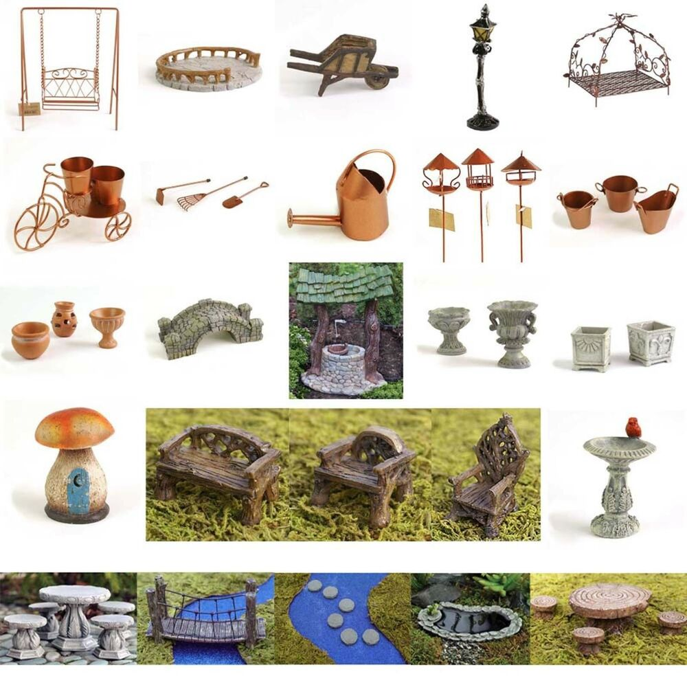Fiddlehead miniature fairy garden accessories furniture for Garden ornaments and accessories