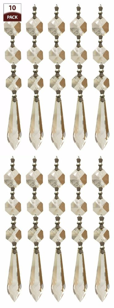 10 Pk Chandelier Replacement Crystal Prisms Clear U Drop