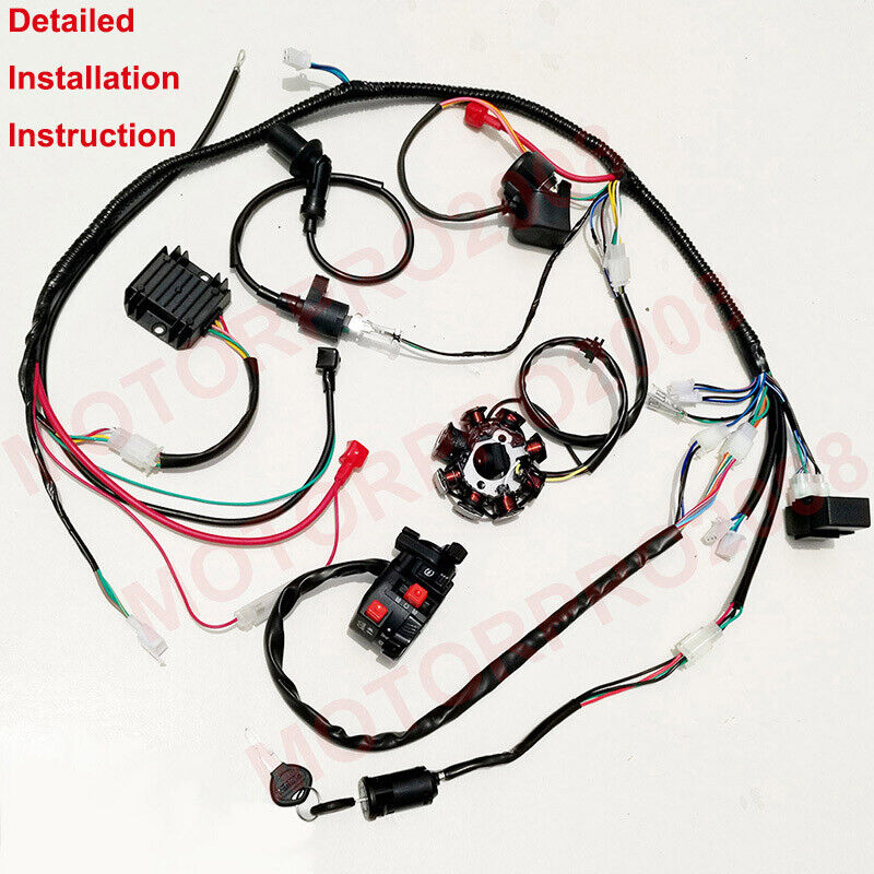 buggy wiring harness loom gy6 150cc atv stator electric ... vw buggy wiring harness diagram buggy wiring harness gy6 150cc chinese electric start kandi go