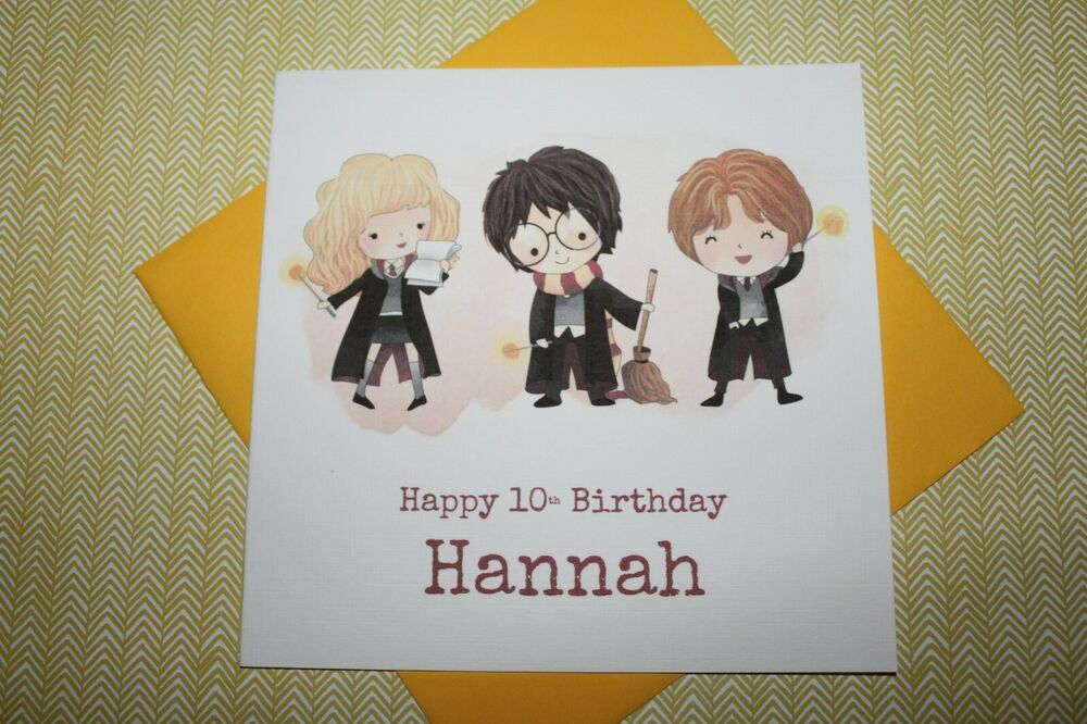 Handmade Personalised Harry Potter Hermione Ron Birthday Card Son