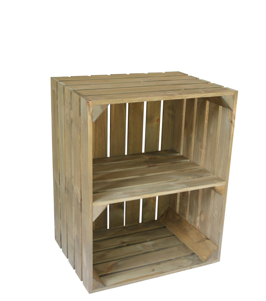 Large wooden crate apple box storage display unit with for Vintage crates cheap