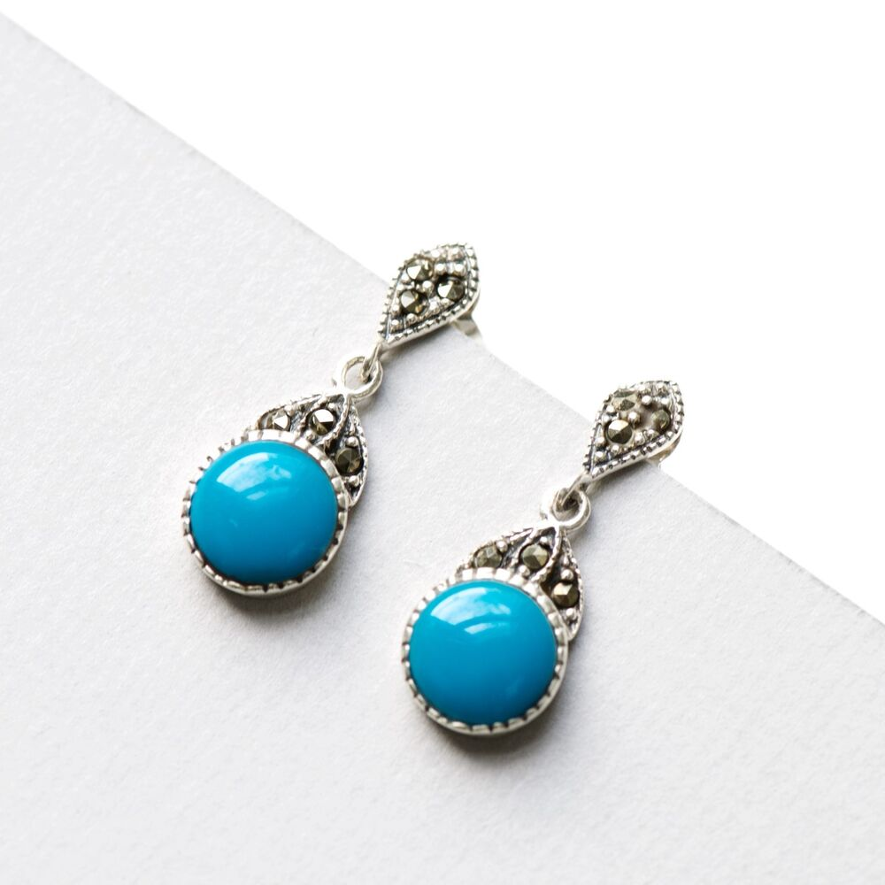 bb2b94adc Details about 925 Sterling Silver Marcasite Vintage Drop Earrings with  Natural Turquoise Stone