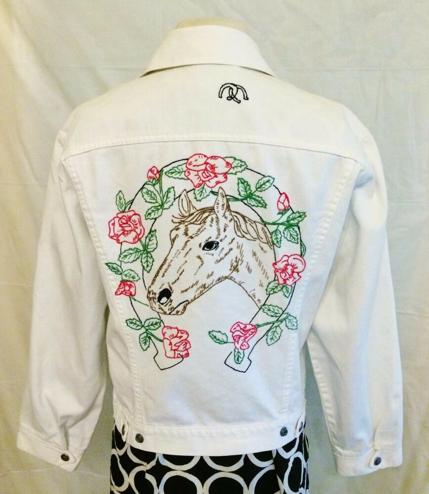 Vintage womens levi white denim trucker jacket size l