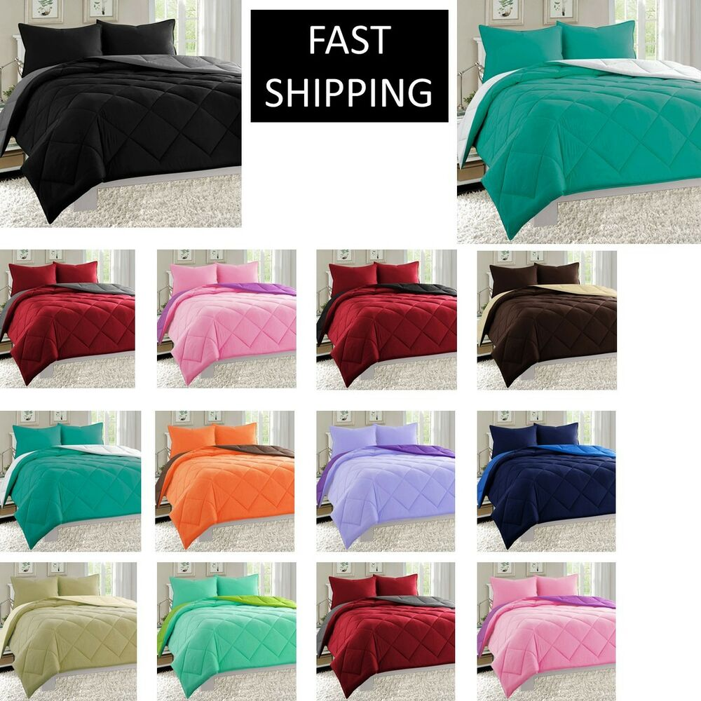 10 colors goose down alternative reversible 3 piece comforter set ebay. Black Bedroom Furniture Sets. Home Design Ideas